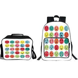 """19"""" School Backpack & Lunch Bag Bundle,Emoji,Watercolor Abst"""