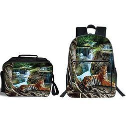 "iPrint 19"" School Backpack & Lunch Bag Bundle,Safari Decor,I"