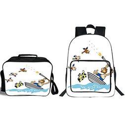 "iPrint 19"" School Backpack & Lunch Bag Bundle,Hunting Decor,"