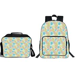 """iPrint 19"""" School Backpack & Lunch Bag Bundle,Brown and Blue"""
