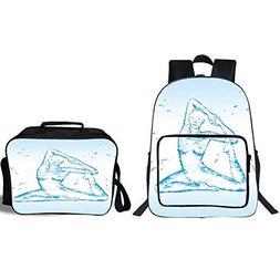 "iPrint 19"" School Backpack & Lunch Bag Bundle,Yoga,Aquatic W"