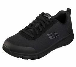77217 Black Skechers shoes Women Work Memory Foam Water Stai
