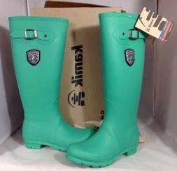 NEW KAMIK Women's Rain Boots Size 6 Pull On Green Rubber Kne