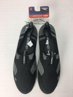 Speedo Adult Large 11-12 Water Shoes Black Gray Mesh Slip On