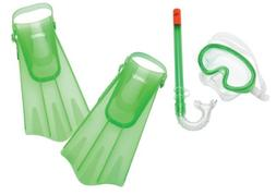 Speedo Kids' Aqua Quest Mask/Snorkel/Fin Set, Glow Green, Sm