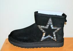 UGG Women's Classic Mini Star Black Leather Boots - Size 7