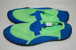 Boys Water Shoes LIME GREEN & BLUE Beach Swimming SIZE 11-12