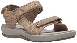CLARKS Women's Brizo Sammie Flat Sandal Sand Perforated Micr