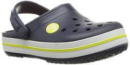 crocs Kids' Crocband K Clog,Navy/Citrus,9 M US Toddler