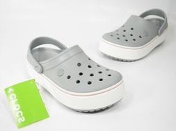 Crocs Crocband Platform Clogs Gray White Women's Size 8 Rela