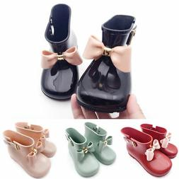 Cute Toddler Baby Kids Girls Jelly Candy Color Bow Shoes Mid