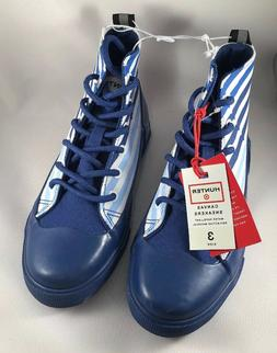 HUNTER Dipped Canvas Blue Stripe High Top Sneakers NEW Size