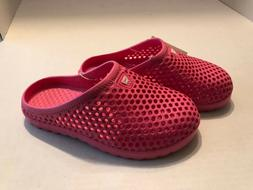 girls slip on pink rubber water shoes
