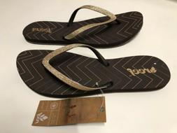 Reef Glitter Flip Flops Brown/Gold Slip On Beach Water Shoes