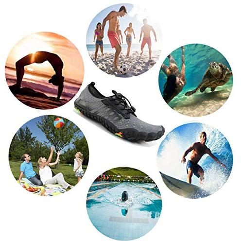 LINGTOM Water Beach Pool Running Shoes Quick Dry Barefoot for Diving Surf Yoga,Grey US M