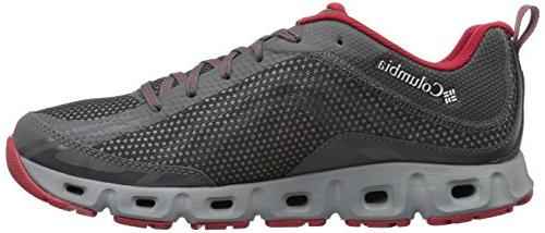Columbia Men's Water Shoe, City Grey, Mountain red, 10