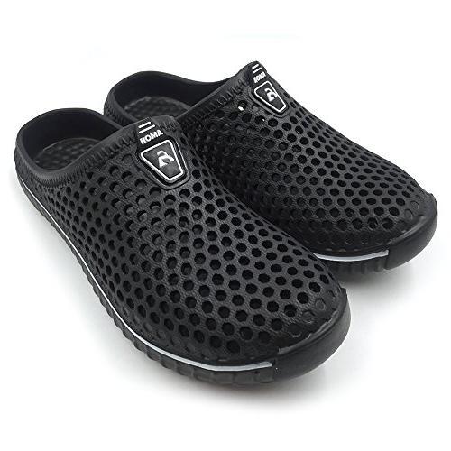 Amoji Garden House Slippers Sandals Outdoor Crocks Ladies Girl Boy Black Men