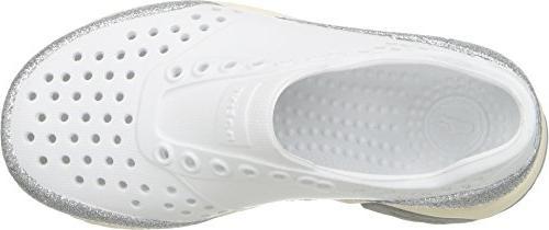 Native Kids Water Shoes, White/Bone White/Pigeon Grey/Glitter, 11 Medium US