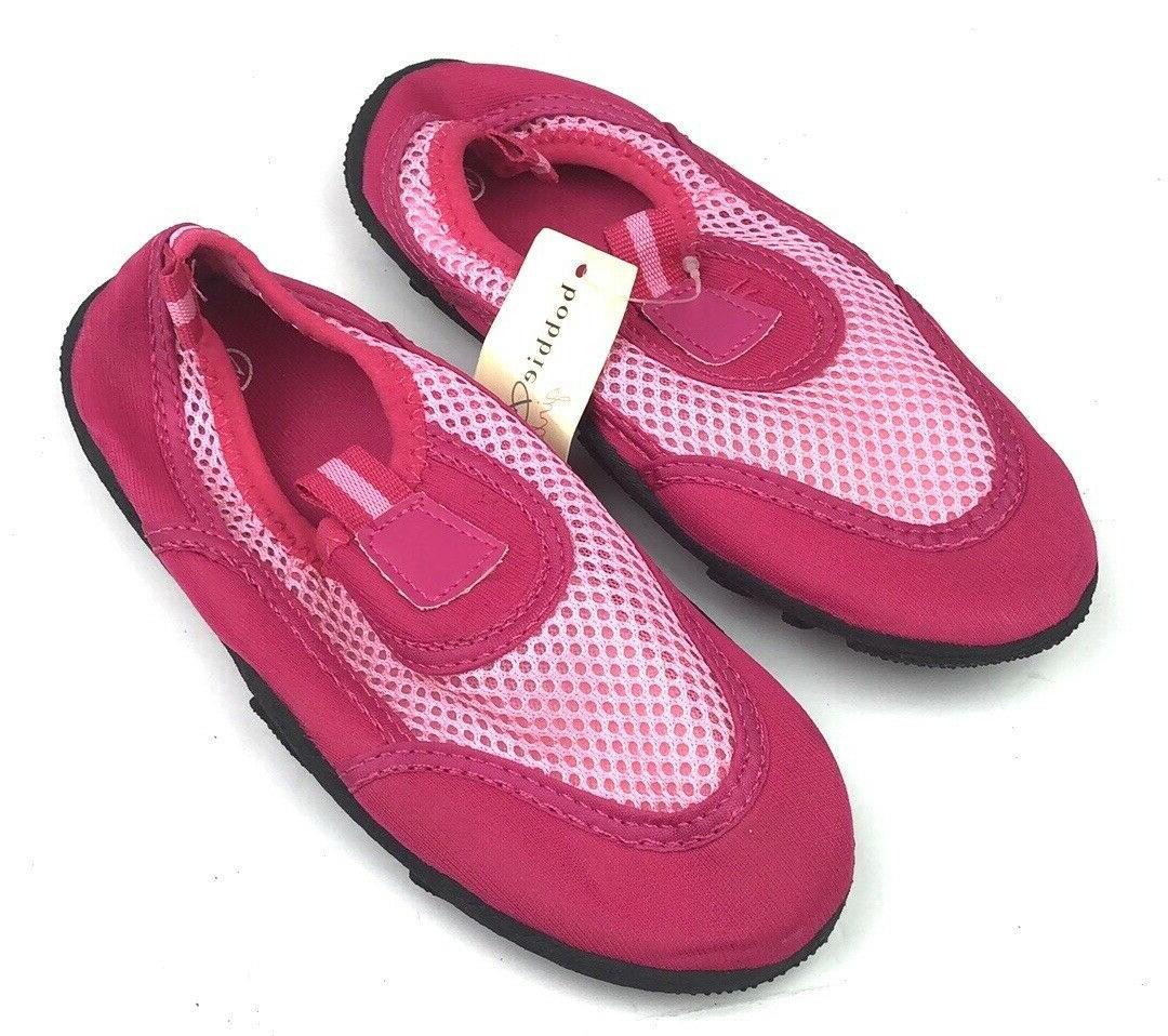 kids girls aqua water shoes pink mesh