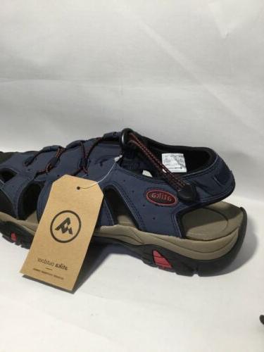 ATIKA Men's Navy Sports Sandals Toe Cap Water Shoes