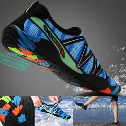 Men Water Shoes Aqua Beach Swim Pool Slip On Surf Socks Bare