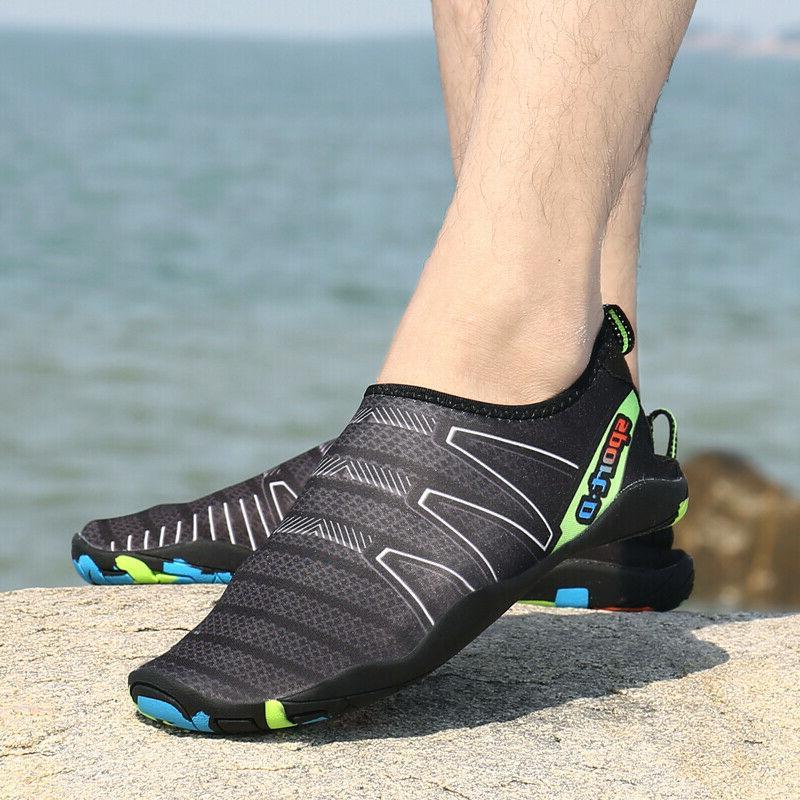men barefoot water shoes beach aqua socks