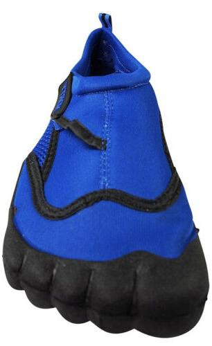 Norty Men's Water Shoes Aqua 8 Breathable Blue Black Slip-On