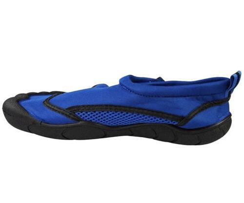 Norty Men's Water Aqua Size Breathable Blue Black Mesh Slip-On