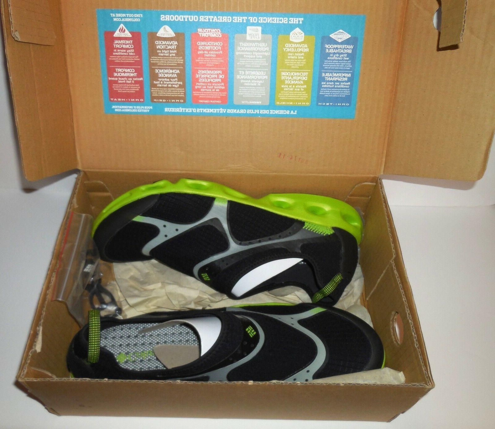 Columbia new Drainsock Men's Water Shoes sz 12 Black Lime