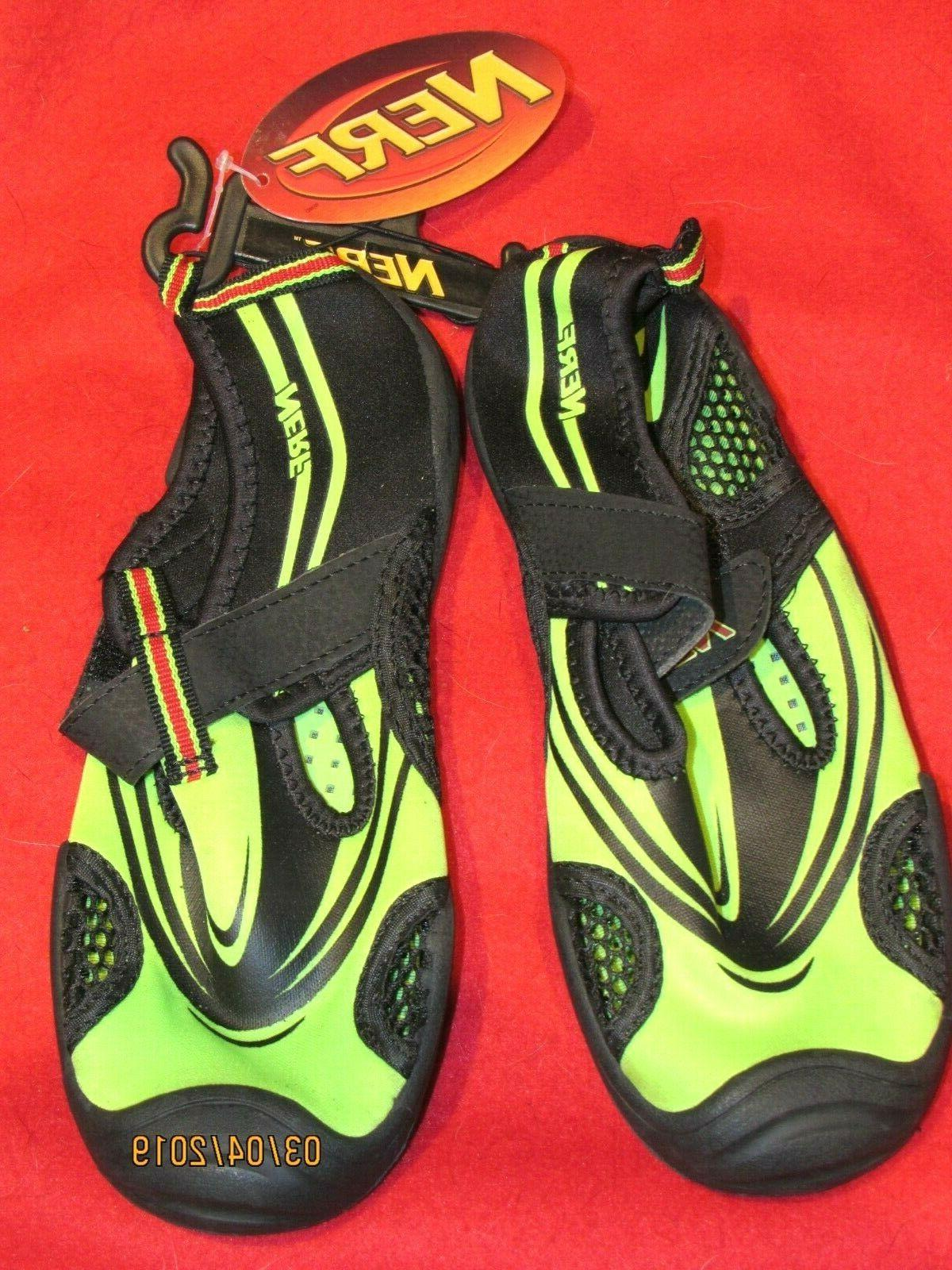 NWT Nerf BoysYouth Water Shoes Neon Green Black Size Large