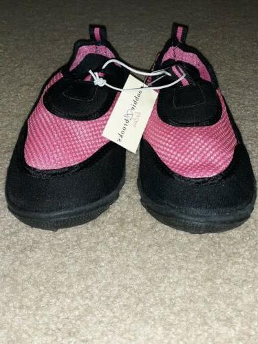NWT PINK/BLACK SLIDE ON SHOES SIZE SMALL