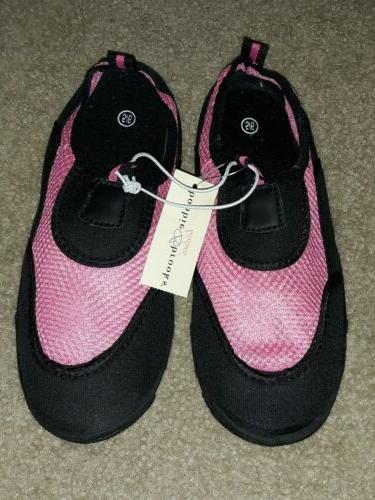 nwt ladies pink black slide on water