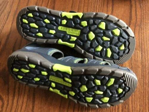 Merrell Sandals Hydro Hiker Water Size 6 Blue Green Leather Kids Boys