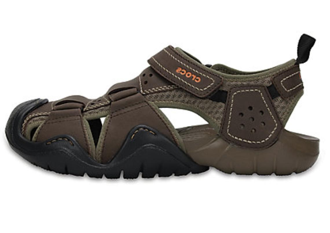 CROCS Leather Fisherman Water Sandals Brown