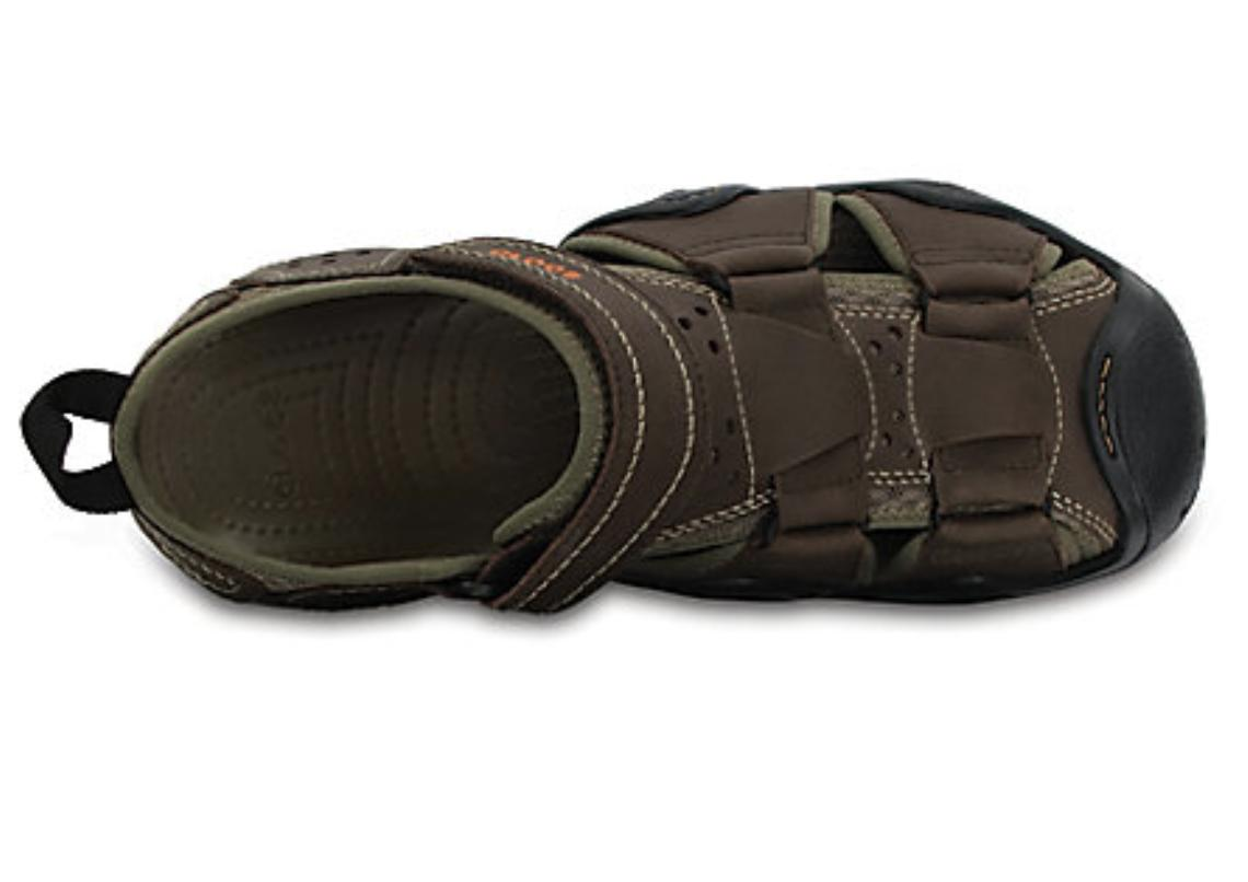 CROCS Leather Water Sandals Brown