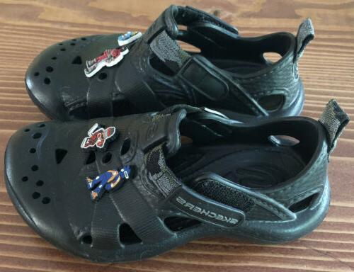 SKECHERS 11 Black Adjustable Strap Croc Beach Boys