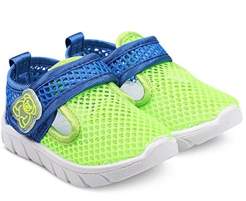 DADAWEN Boy's Water Shoes Lightweight Breathable Mesh Running Sneakers Green US M