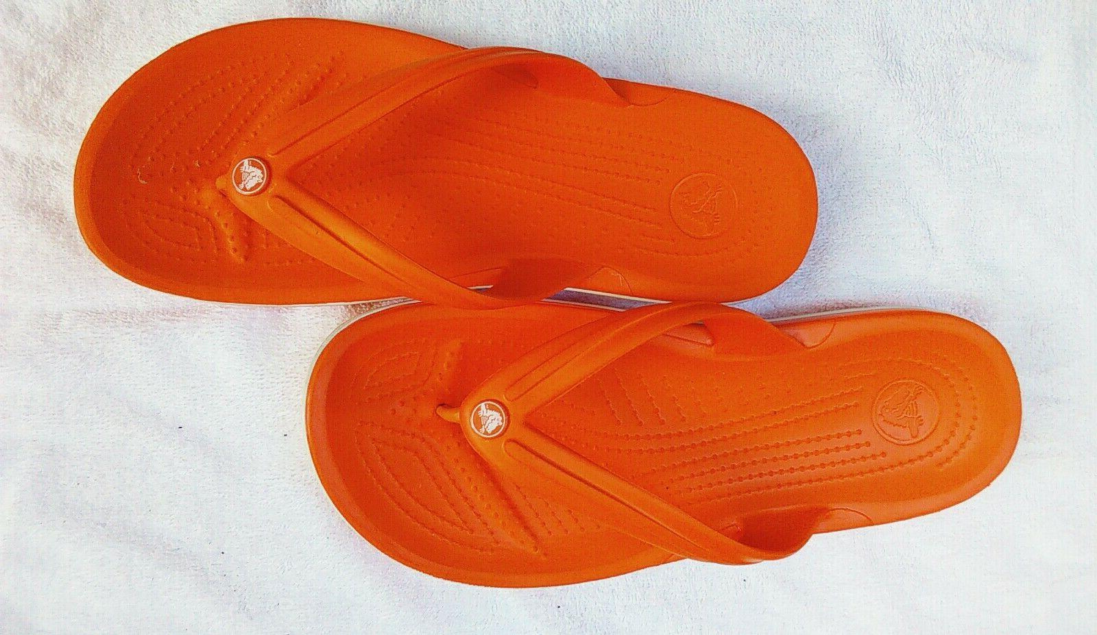 womens orange flip flop sandals beach or