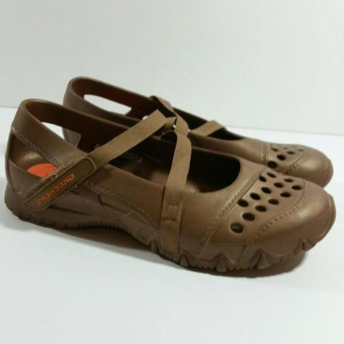 Skechers Size Gold Brown Plastic Water Comfy