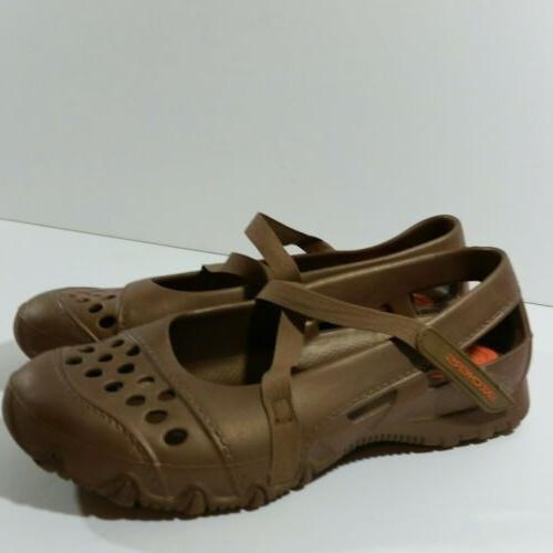 womens size 6 gold brown plastic washable