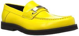 Calvin Klein Men's Lyric Slide Sandal, Cyber Yellow, 12 M US