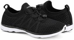 Aleader Men's Mesh Slip On Water Shoes, 201911 Black/White,