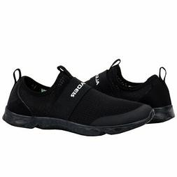 Aleader Men's Mesh Slip On Water Shoes, Black, Size 9.5