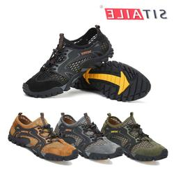 Mens Outdoor Sneakers Water Shoes Mesh Breathable Slip on Fl