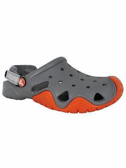 Crocs Mens Swiftwater Clog Water Shoes, Smoke/Tangerine, US