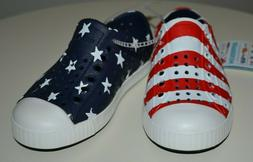 NATIVE Jefferson Water Proof Shoes RED WHITE BLUE FLAG Child