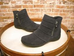 Clarks Navy Suede Chris Sway Water Resistant Ankle Boots NEW