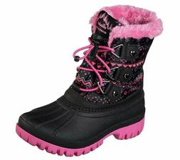 New Girl's SKECHERS Boots Shoes Water Resistant Black/Pink 8