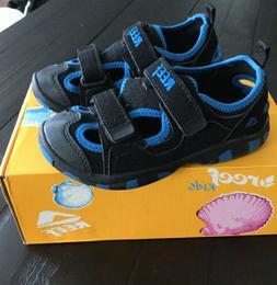 NEW TODDLER/ LITTLE KID 11/12 BLACK BLUE HOOK & LOOP SANDALS
