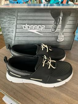 NEW Women's Speedo Port Breathable Water Boat Shoes Black Wh